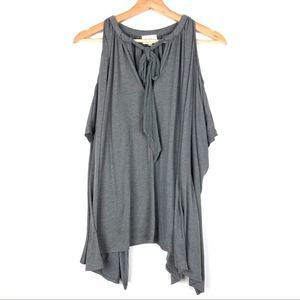 DELETTA Tulay Top XS/S cold shoulder gray bow t610